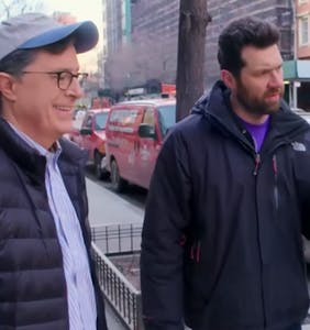 "Billy Eichner and Stephen Colbert pop the ""New York bubble,"" and it makes a marvelous sound"
