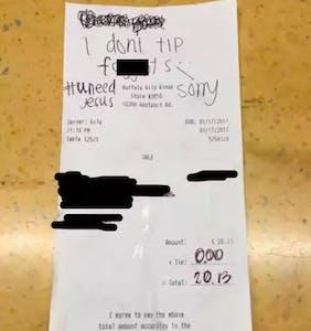 Customer writes antigay slur on receipt instead of tipping