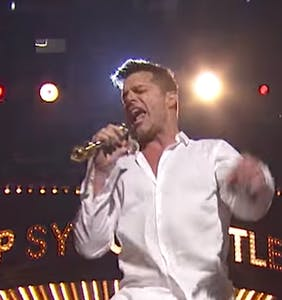 "Ricky Martin slinks around in his underwear for ""Risky Business"" lip sync tribute"
