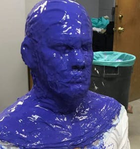 "Which actor just called Ryan Reynolds his ""b*tch"" from beneath this blue goop?"