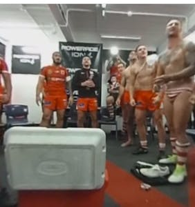 Rugby team cordially invites you into the locker room to ogle their undressed adventures