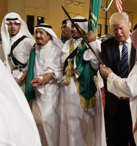 You can't unsee this video of Donald Trump's awkward sword dance with Saudi officials