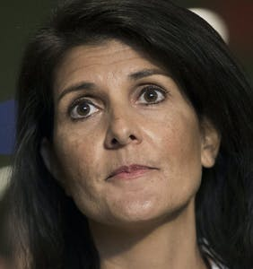 Nikki Haley's Sunday lunch was completely ruined after she was heckled by gay people