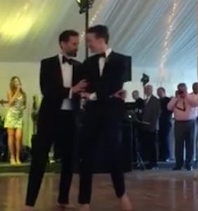 That time two adorable grooms wowed their wedding guests with their barefoot dancing skills