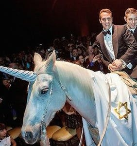 Two nice Jewish boys ride down the aisle on a unicorn, and the Internet has puns for days