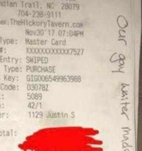 Waiter shares wincingly homophobic slur on receipt; restaurant fires waiter. Whuh?