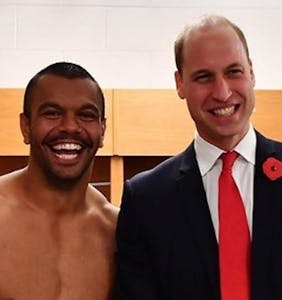 This un-cropped photo of Prince William with a Speedo-clad rugby player is real awkward