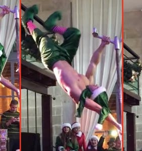 WATCH: Italian pole dancer delivers the X-mas goods early