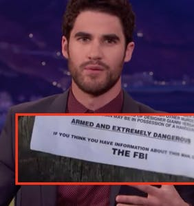 Darren Criss spotted on FBI wanted sign