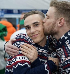 "Gus Kenworthy and Adam Rippon share a tender kiss: ""We're queer. Get used to it."""