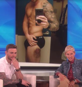Gus Kenworthy shows Ellen his battle wounds, but nobody's looking at the bruise
