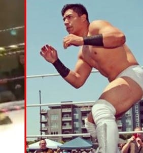 WATCH: Pro wrestling match takes a turn when Jake Atlas kisses opponent