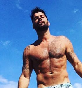 Ricky Martin wears the absolute tightest speedo possible in the Mediterranean