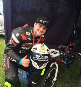 "Zack Leader is competing to be the ""first openly gay British superbike champion"""