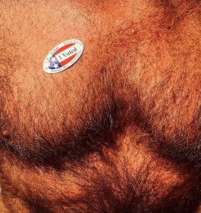 "PHOTOS: Hot guys find all sorts of sexy places to put their ""I Voted"" stickers"