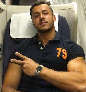 Another male adult performer has recorded his sexy times on an airplane