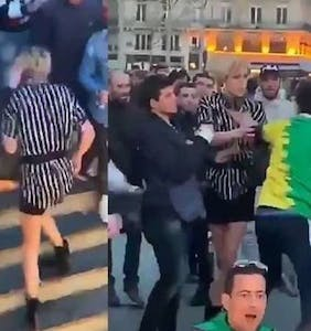 A mob's aggressive attack of a trans woman has gone viral