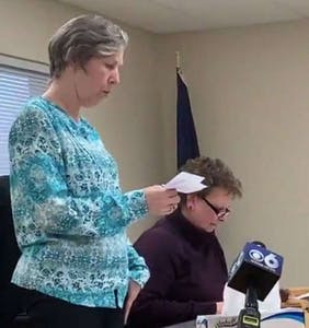 Watch this disgraced town clerk publicly apologize to the gay couple she discriminated against