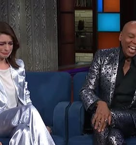 VIDEO: Anne Hathaway can't hold back tears during surprise visit from RuPaul