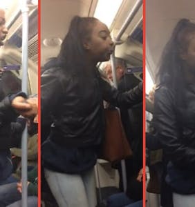 """Vile woman caught on tape spitting on gay man in public, screams """"I'm going to violate you!"""""""