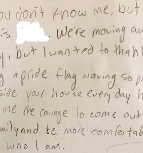 Kid leaves note on gay couple's door thanking them for giving her the courage to come out