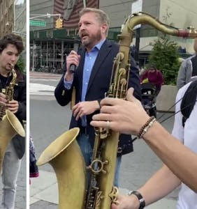 Street performers drown out homophobe's hate speech in public square