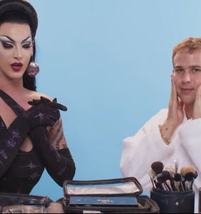 Violet Chachki gives '13 Reasons Why' star Tommy Dorfman their first drag makeover