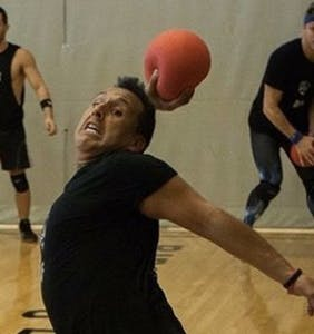Watch this video of a woman being attacked by a dodgeball team in Las Vegas