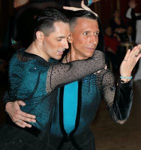 Same-sex ballroom champions dance at London's Pink Jukebox