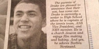 That time a proud mom placed a newspaper ad announcing her teen son had come out as gay