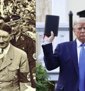 Suddenly that Trump upside down Bible photo op all makes sense