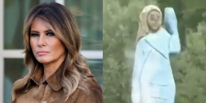 Someone torched that god-awful statue of Melania Trump in Slovenia