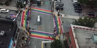 WATCH: Moving moment John Lewis' hearse paused on Atlanta's rainbow crosswalks