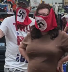 WATCH: Man and woman wear swastika-emblazoned face masks to Walmart