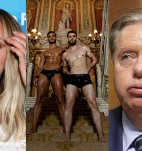 Guys in leather thongs, Lindsey Graham's a wreck, Katharine McPhee supports antigay Republicans