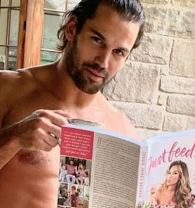 Football star poses naked in show of support for his spouse