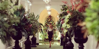 Melania unveils funeral home inspired White House Christmas decorations complete with urns